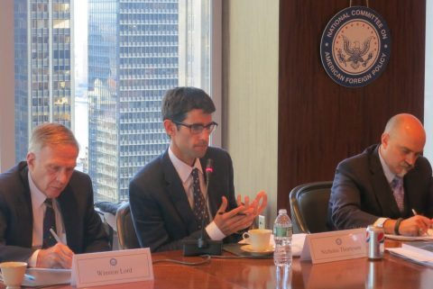 Nick Thompson addresses a cybersecurity roundtable alongside the Honorable Winston Lord and Professor Jason Healey.