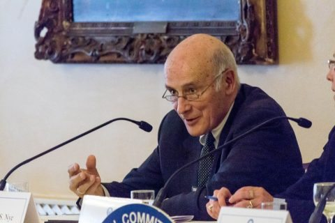 Professor Joseph Nye speaks at a public event as a part of the NCAFP's cyber panel